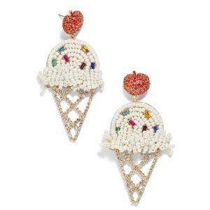 BaubleBar Ice Cream Cone Beaded Earrings Clip-On